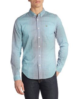 Ombre-effect Check Regular Fit Button-down Shirt