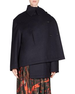 Wool Button-front Peacoat