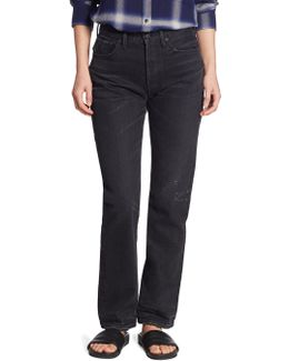 Cotton High Rise Union Slouched Released Hem Jeans