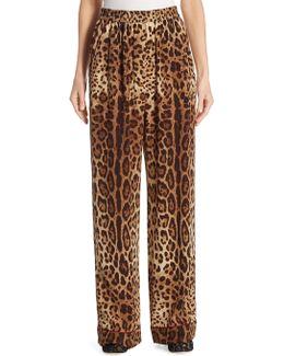 Leopard-print Crepe De Chine Pajama Pants