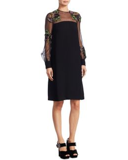 Embroidered Illusion A-line Dress
