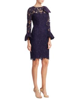 Lace Bell Sleeve Cocktail Dress