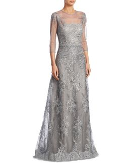 Lace Illusion Evening Gown