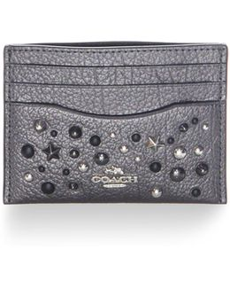 Star Rivets Metallic Leather Card Case
