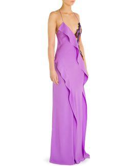 Embroidered Ruffle Silk Dress