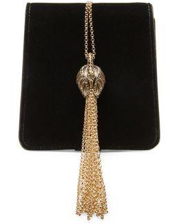 Chained Velvet Shoulder Bag