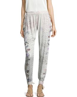 Fluid Floral Print Pants