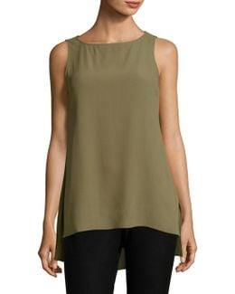 Sleeveless Bateau Silk Top