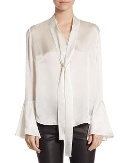 Collection Flare Sleeve Neck Tie Blouse
