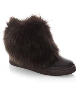 Priya Shearling & Leather High-top Sneakers