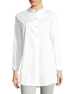 Solid Cotton Button-up Shirt