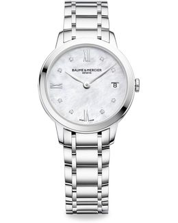 Classima 10326 Diamond, Mother-of-pearl & Stainless Steel Bracelet Watch