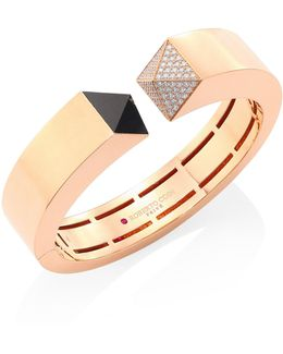 Prive Pyramid Pave Diamond, Black Jade & 18k Rose Gold Bangle