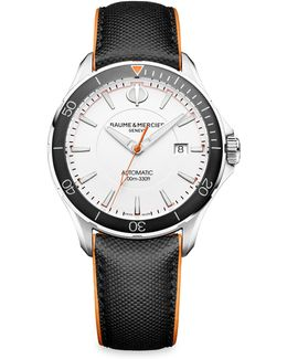 Clifton Club 10337 Stainless Steel & Leather Strap Watch
