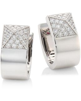 Prive Pyramid Pave Diamond & 18k White Gold Earrings