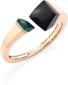 Prive Black Jade, Malachite & 18k Rose Gold Bangle