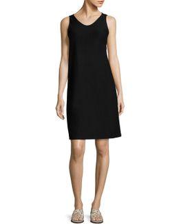 Solid Scoop Neck A-line Dress