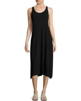 Solid Scoop Neck Jersey Dress