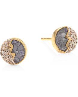 Raina Sliced Raw Diamond Stud Earrings