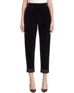 Cropped Velvet Pants