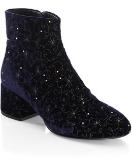 Diamond Velvet Booties