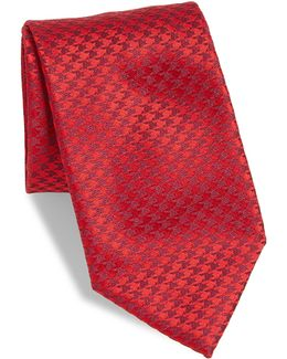 Small Houndstooth Silk Tie