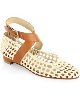 Dagmar Woven Leather Ankle-wrap Flats