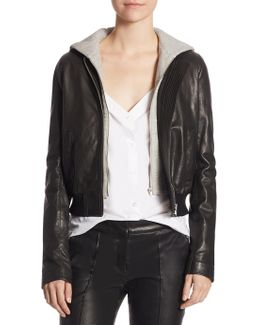 Edison Leather Cropped Jacket And Dickie