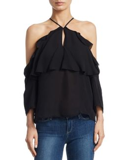 Luciana Cold Shoulder Silk Top