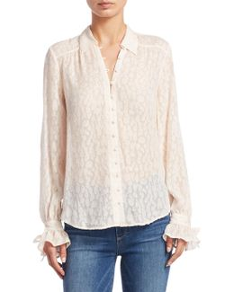 Emberly Cheetah Blush Silk Blouse
