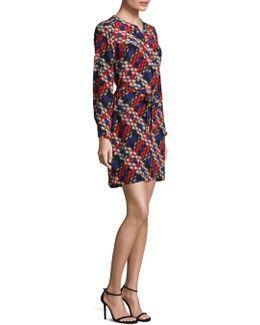 Janny Plaid Print Silk Dress