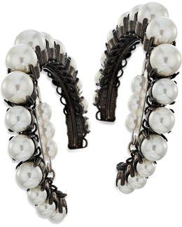 Solidarity Faux-pearl Hoop Earrings