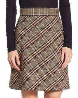 A-line Stripe Wool Skirt
