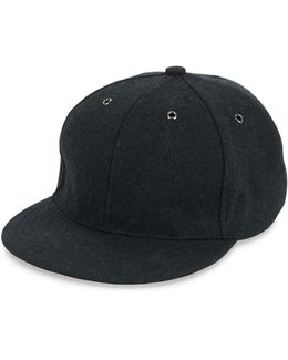 Crown Button Wool & Leather Baseball Cap