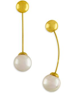 Ball & Imitation Pearl Drop Earrings
