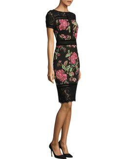 Floral Neoprene Knee-length Dress
