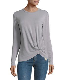 Long-sleeve Pullover Twist Tee