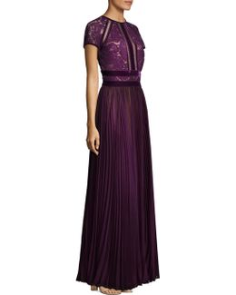 Mixed Media Pleated And Floral Lace Floor-length Gown