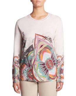 Regular-fit Paisley Print Wool Sweater