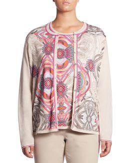 Regular-fit Paisley Print Wool Cardigan