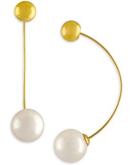 12mm White Organic Pearl Drop Earrings/goldtone