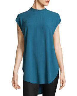 Silk Georgette Crepe High Neck Tunic