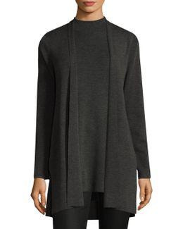 Wool Straight Long Cardigan
