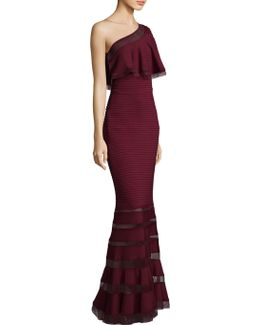 Pintuck One-shoulder Gown