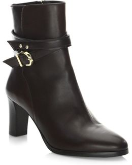 Wrap Heeled Leather Booties