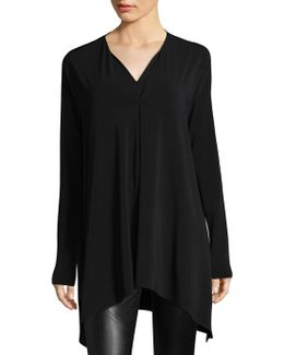 Double V-neck Oversized Hi-lo Top