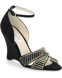 Buckled Velvet Wedge Sandals