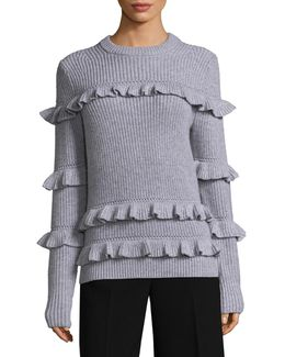 Knitted Ruffled Sweater