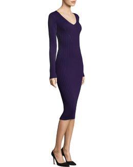 V-neck Rib Sweater Dress