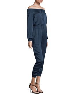 Off-the-shoulder Zip Jumpsuit